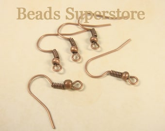 18 mm Antique Copper French Ear Wire with Bead and Coil - Nickel Free and Lead Free - 50 pcs