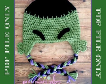 Crochet Hulk Hat Pattern Only--PDF FILE--PATTERN 79bee3878cf