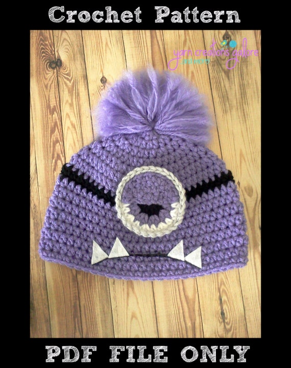 Crochet Evil Minion Hat Pattern Pdf File Onlydigital Etsy