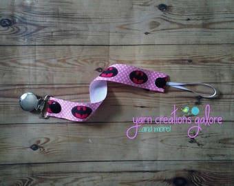 Pacifier Holder- Pink Girl Batman