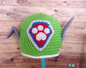 Crochet Green Rescue Pup Hat