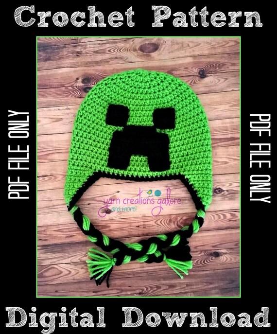 Minecraft Creeper Hat Crochet Pattern Pdf File Only Etsy