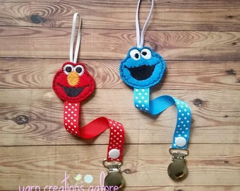 Feltie Pacifier Holder--Elmo or Cookie