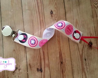 Pacifier Holder- Girl Superhero-Captain America, Spiderman, Superman & Batman