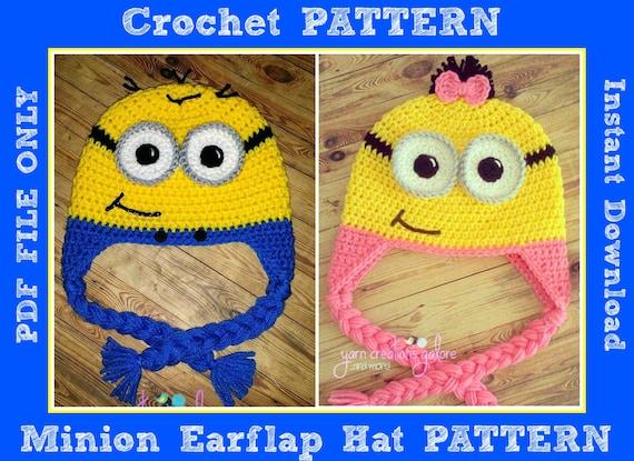 Crochet Minion Earflap Hat Pattern Only PDF FILE  0298e5bff31e