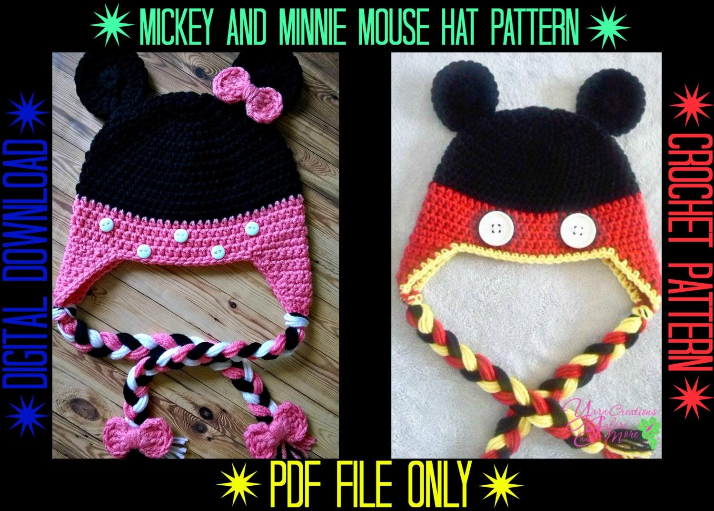 Mickey Minnie Mouse Hat Crochet Pattern Etsy