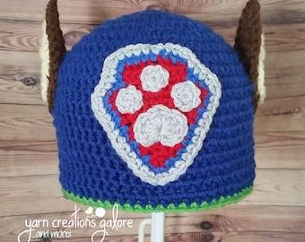 Crochet Blue Rescue Pup Hat