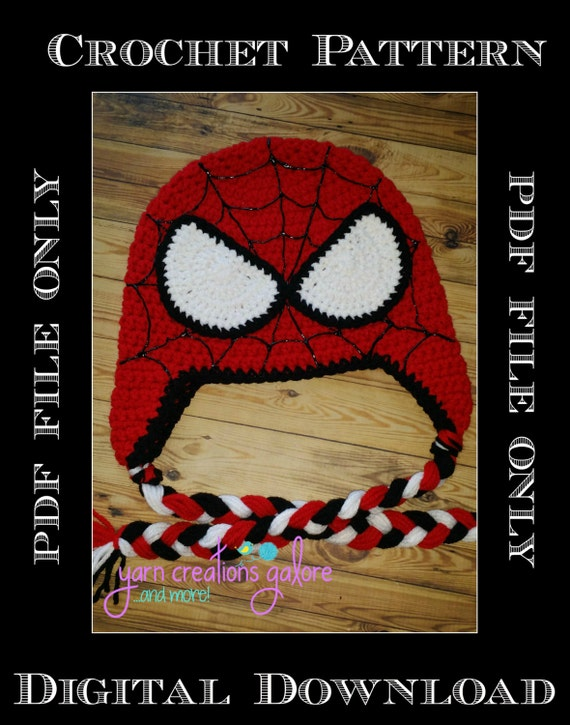 Crochet Spiderman Hat Patternpdf Only