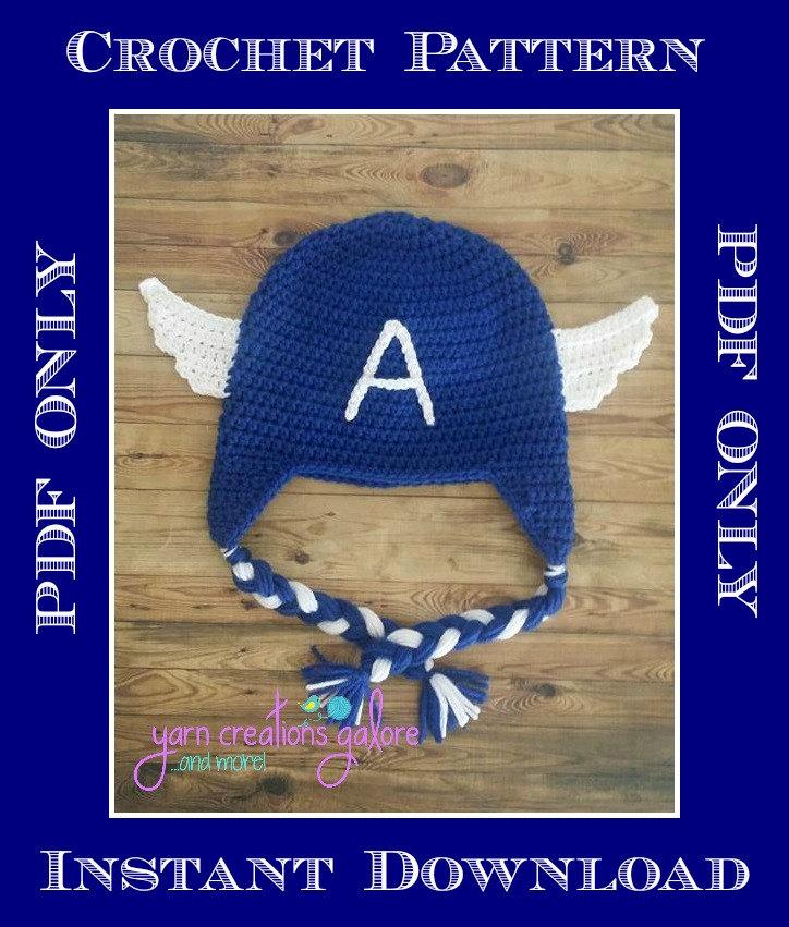 Crochet Captain America Hat Pattern Pdf File Only Etsy