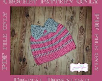 Ponytail Bow Hat Crochet Pattern *** PDF FILE ONLY