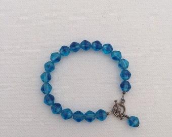 Vintage Blue Glass Bead Bracelet