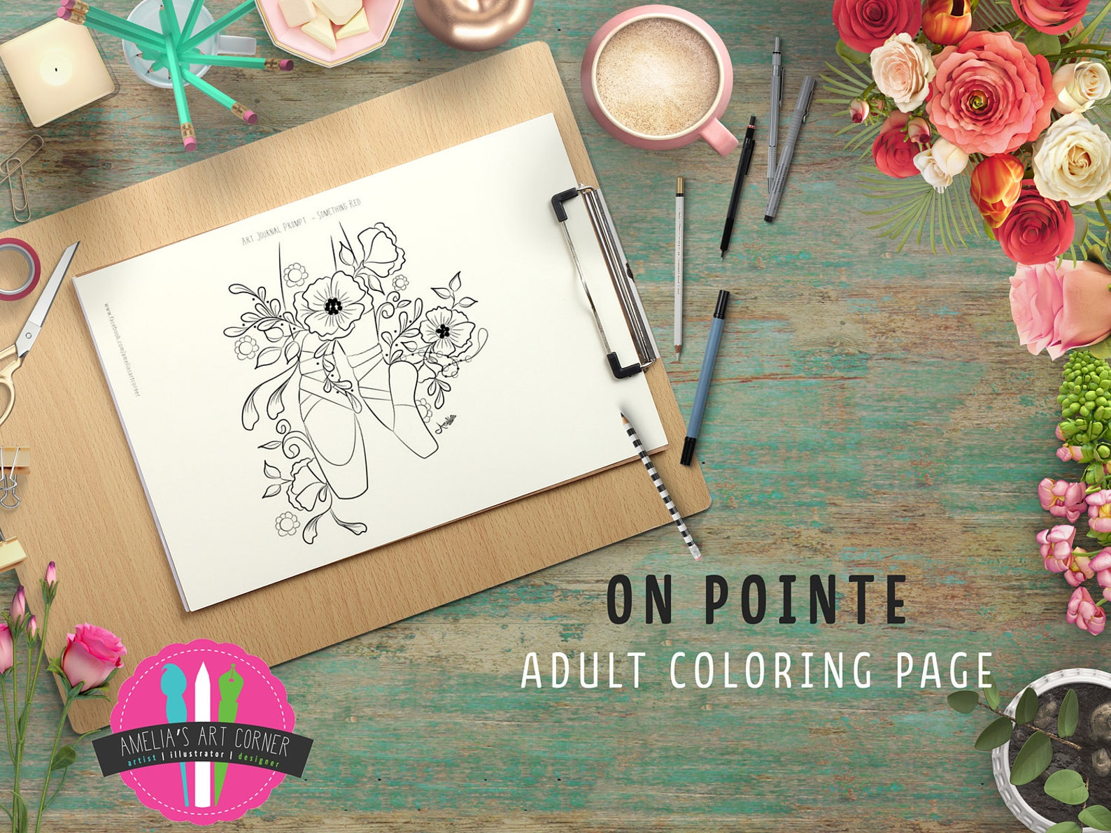 ballet pointe shoes adult coloring page - printable ballet colouring page - downloadable floral ballet coloring page