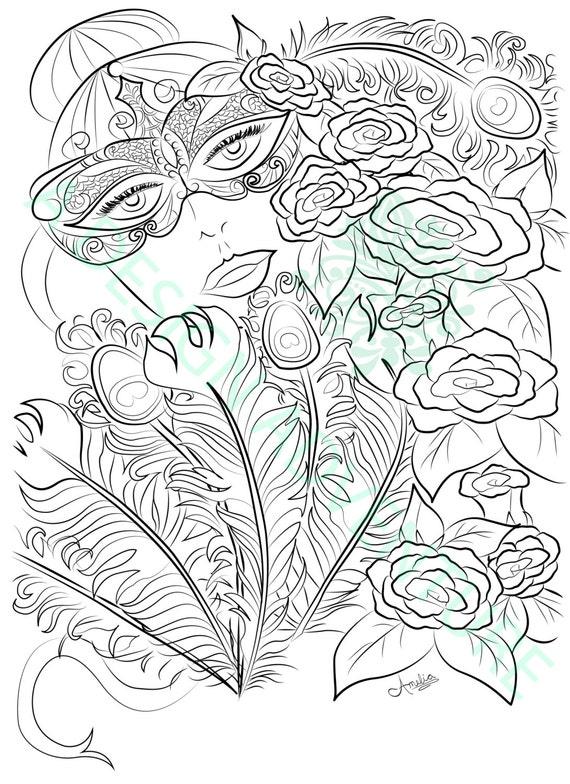 Adult Coloring Book Printable Page Mardi Gras Coloring Book