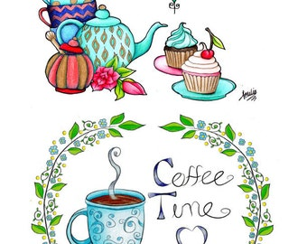 Adult Coloring Book Printable Page packet - Coffee coloring page and Tea coloring page - Downloadable floral coloring page