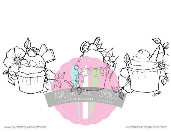 Adult Coloring Page Cupcakes Printable And Downloadable Etsy