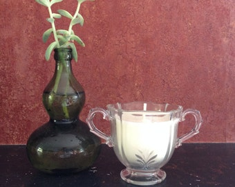 Unscented Soy Candle in a Vintage Clear Pressed Glass Sugar Bowl