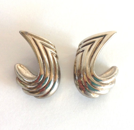 Gorgeous Vintage Givenchy Silver Tone Clip On Earr