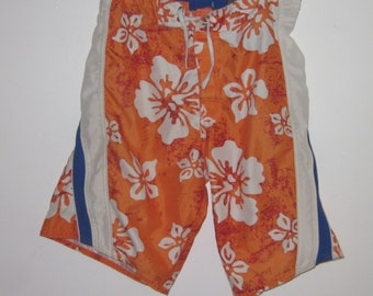 dfd2174d1a Vintage HAWAIIAN BOARDSHORTS SWIMSUIT Men's Orange- Size Small 28/30 Hook &  Loop Closure with Tie Waist