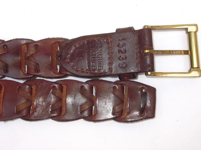 Men/'s WOVEN BROWN Leather Belt with Brass Square Buckle-Size ML 38  LoopBraid Makes This Totally Adjustable