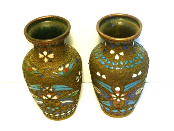 Antique French Vase Set Of 2small Champleve Vasesbrass And Etsy
