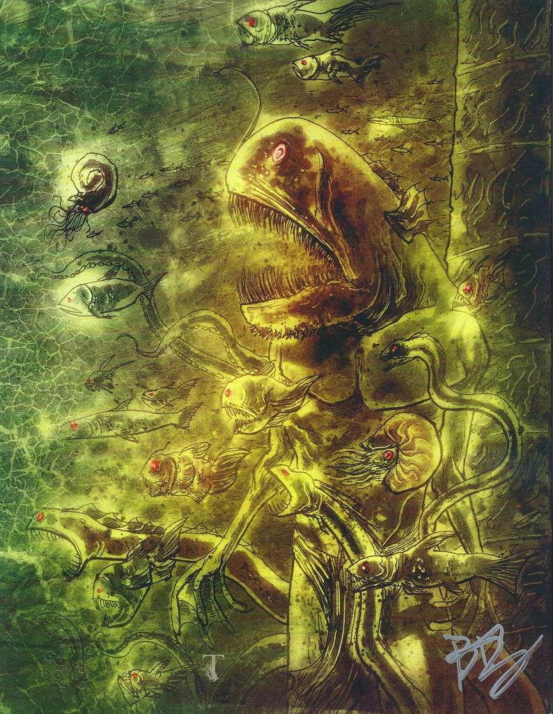 """HP Lovecraft ART PRINT Kickstarter """"Dagon by H P  Lovecraft and Ben  Templesmith  (Set of 4 - various, signed, embossed)"""