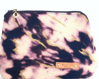 Kelly Makeup Bag / Hand-treated and Hand-painted (royal blue and gold makeup bag)