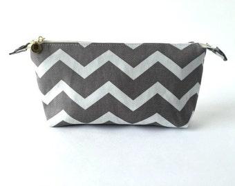 Gray Chevron Makeup Bag / Travel Bag / Zipper Pouch (small)