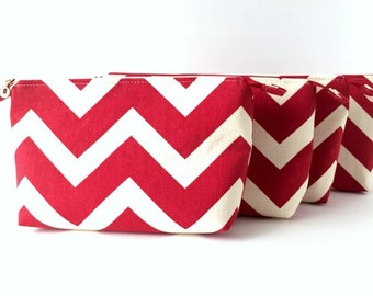 Red and White Chevron Makeup Bag / Travel Bag / Zipper Pouch (large)