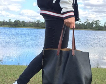 Black Classy Leather Tote (medium) with brown leather straps