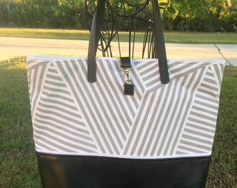 Stone Gray & White Canvas and Leather Tote