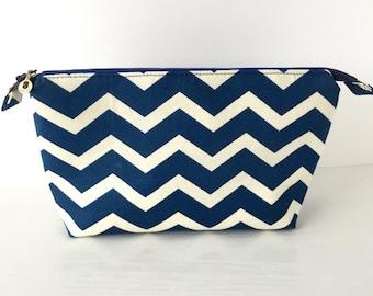 Royal Blue and White Chevron Makeup Bag / Travel Bag / Zipper Pouch (large)