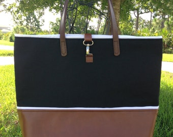 Black Canvas & Leather Tote