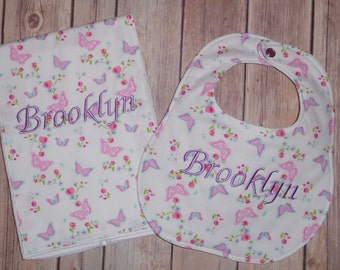 Butterfly Boutique Bib and Burp Cloth set - Personalized