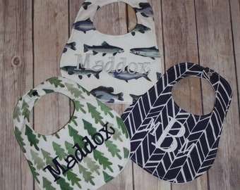 Set of 3 -Personalized Bib Set - Perfect Boy Collection - Fish, Trees, Herringbone