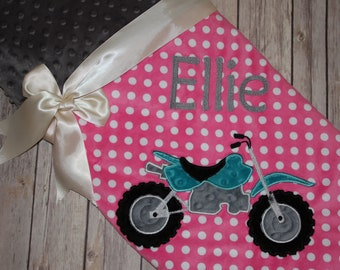 Dirt Bike- Personalized Minky Baby Blanket - Pink Minky Polka Dots / Gray Minky - Embroidered Dirt Bike