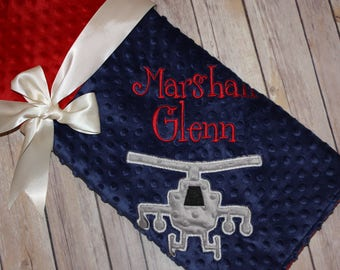 Apache Helicopter - Personalized Minky Baby Blanket - Navy / Red Minky - Embroidered Apache Helicopter
