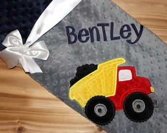 Dump Truck -Personalized Minky Baby Blanket - Navy Minky/ Gray Minky - Embroidered Dump Truck