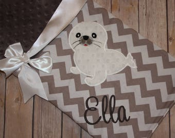 Seal -Personalized Minky Baby Blanket with Embroidered Seal- Grey Chevron