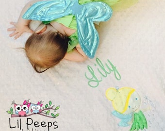 Fairy- Personalized Minky Baby Blanket - Baby Pink / Lime Minky - Embroidered Fairy