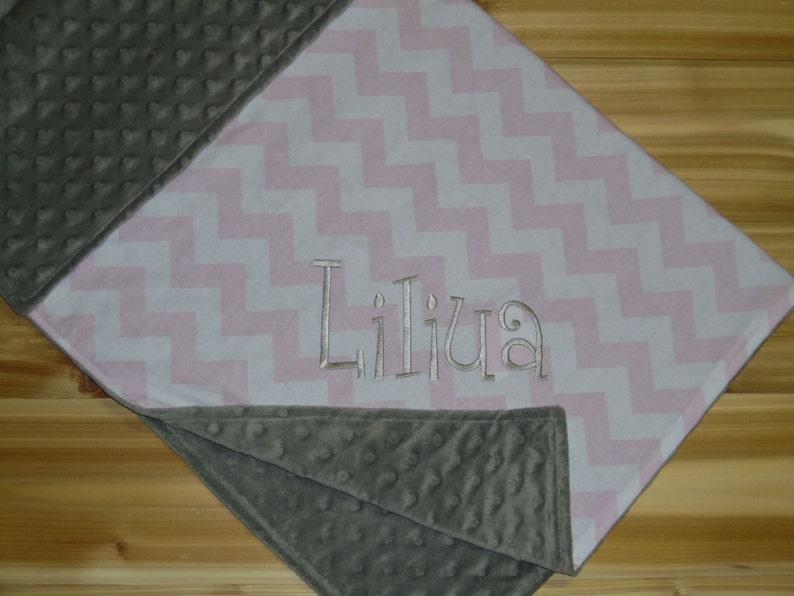 Custom Monogram Medium Pink Chevron with Silver Minky Minky Baby Blanket
