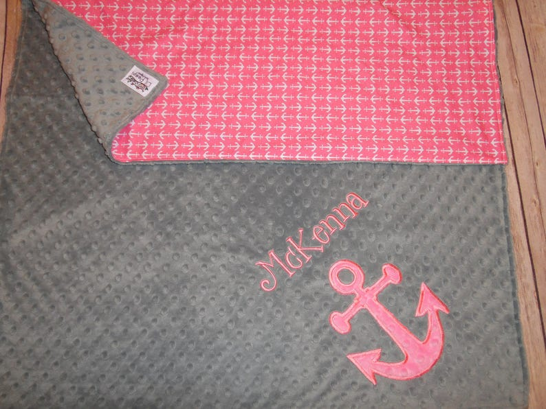 Gray Minky and Anchor Print Personalized Minky Baby Blanket with Embroidered Anchor