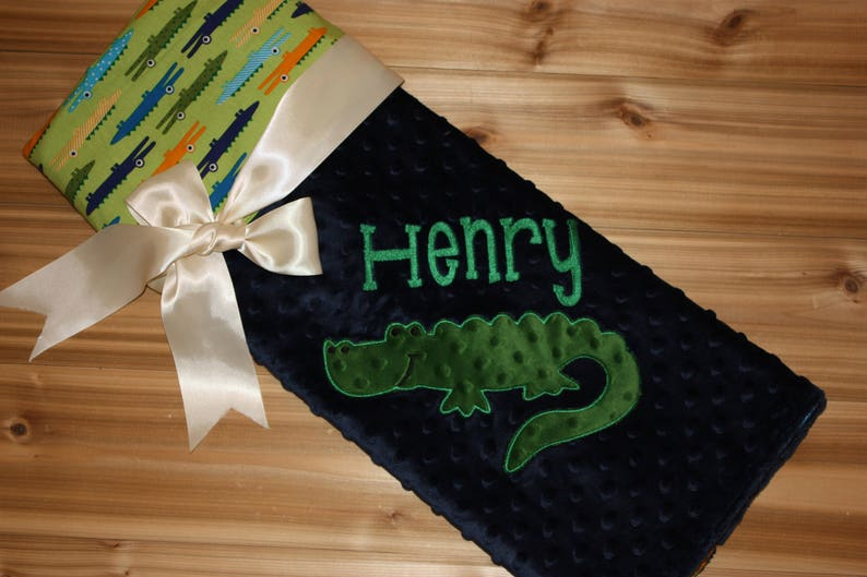 Alligator Personalized Navy Minky Baby Blanket with Embroidered Alligator Alligator print
