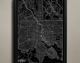BALTIMORE Map Print, Black and White Baltimore Wall Art
