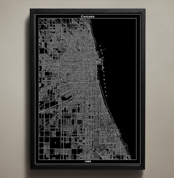 Chicago Map Canvas.Canvas Print Chicago Map Chicago Poster Chicago Canvas Etsy
