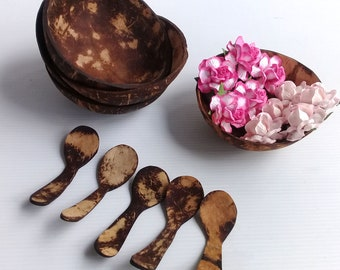 Natural Coconut Shell Bowl and Spoon Handmade Handcraft Carved Tableware Gift Ri