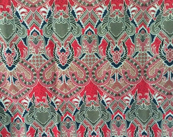 red and green sarong Thai sarong,Thai Batik,batik sarong fabric,cotton 2 yards,yards,textile,sorong,wrap skirt, Indonesia batik,Sarong