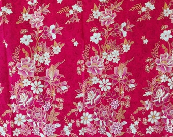 pink roses with gold flowers  pure cotton traditional Indonesian,batik sarong fabric,ratna dewi,spa,table cloth,Indonesia sarong