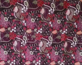 purple flowers Thai  traditional print ,Thai Batik ,batik sarong fabric,cotton 2 yards.