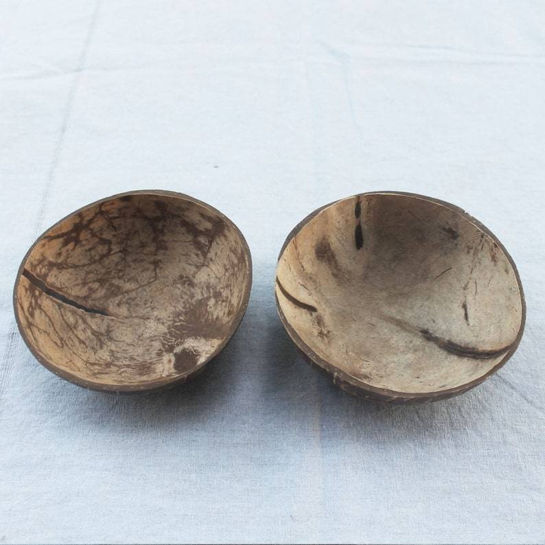 Coconut bowl,coconut shell 2 bowls,bright and dark color,size small 4inch x 2 inch vegan gift,wooden gift,birthday gift,easter,acai bowl,