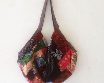 Shoulder Bag  cotton ptachwork,sling bag,hippie bag,Bohemian Bag, Blue Elephant Market Bag, Hippie Bag, Large Shoulder Bag